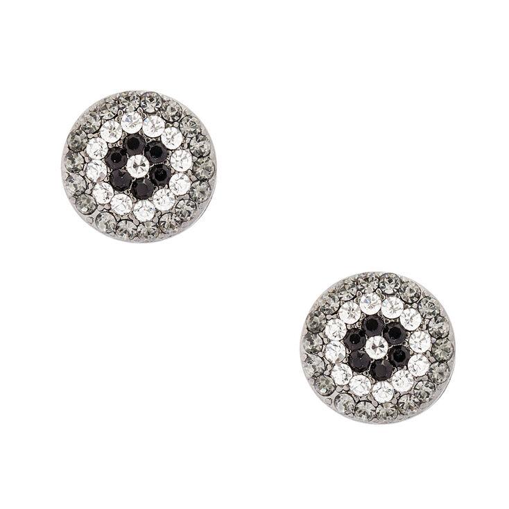 Gray Button Stud Earrings,