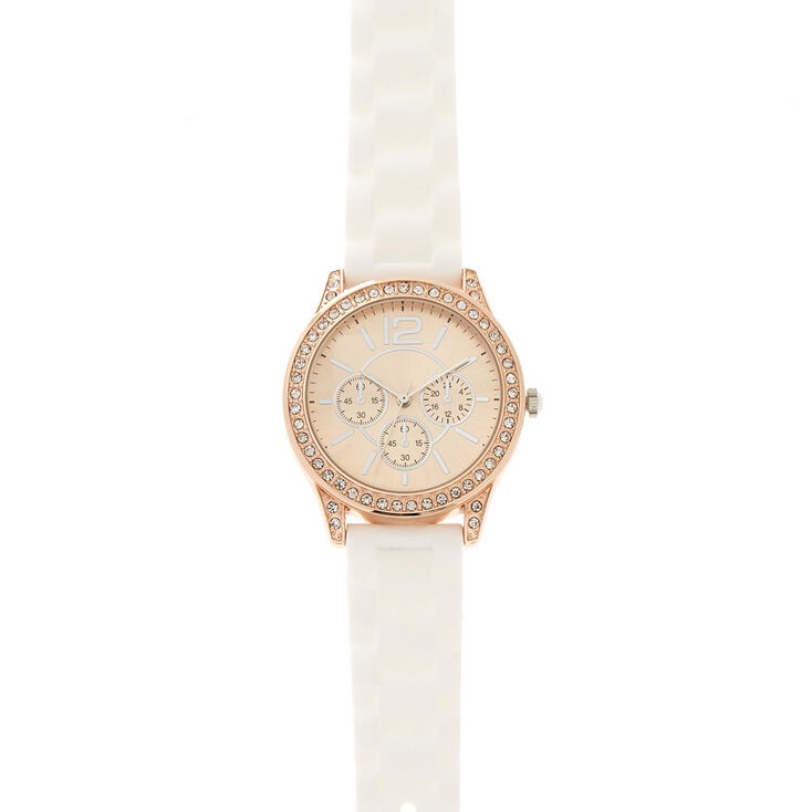 Pavé White Rubber Link Watch,