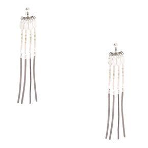 Pink Beaded Dangle Earrings with Gray Tassles,