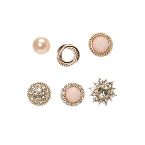 Blush Pink and Gold Motif Stud Earrings,