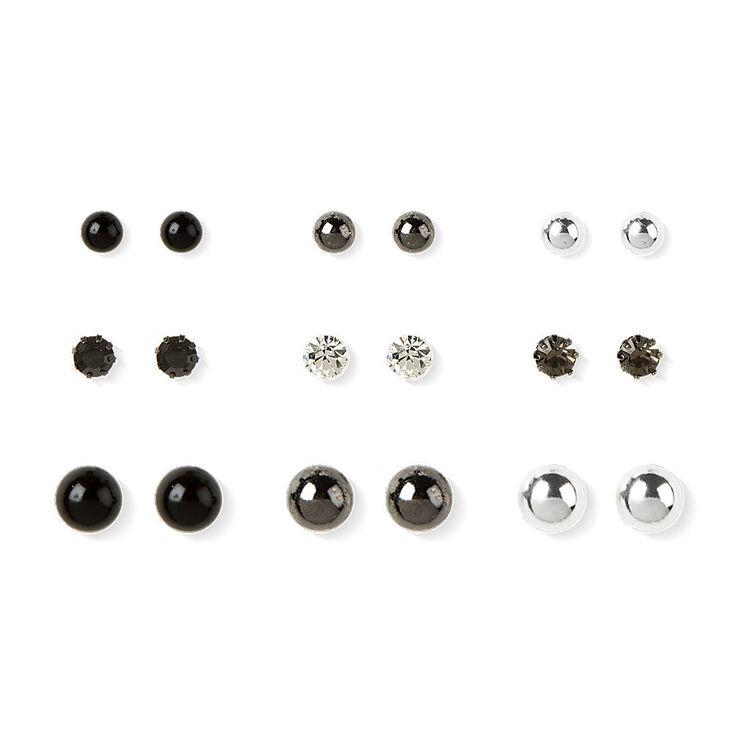 silver hematite and black stud earrings s us