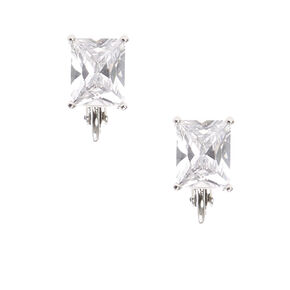 Silver-tone Framed Rectangle Cut Cubic Zirconia Stud Clip-on Earrings,