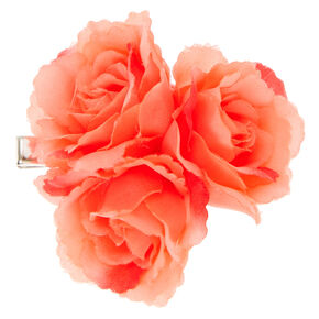 Coral Rose Trio Hair Clip,