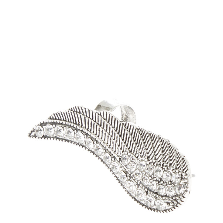Silver with Crystal Accent Wing Ear Crawler,