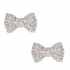 Silver-tone Crystal Pavè Bow Stud Earrings,