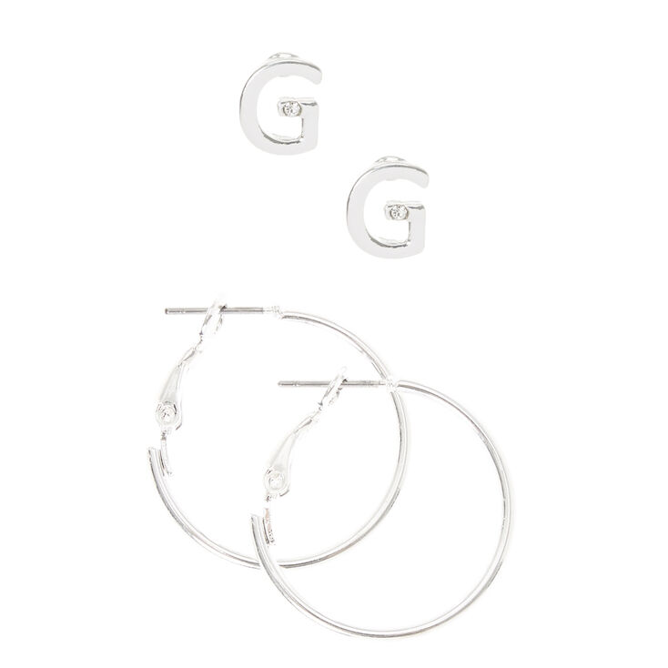 Silver Initial G Stud and Mini Hoop Earrings,