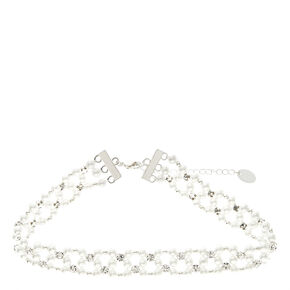 Faux Pearl & Crystal Occasion Choker Necklace,