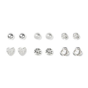 Ball, Crystal Hearts and Flowers Stud Earrings Set of 6,