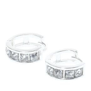 Silver Tone Glass Stone Studded 10MM Hoop Earrings,