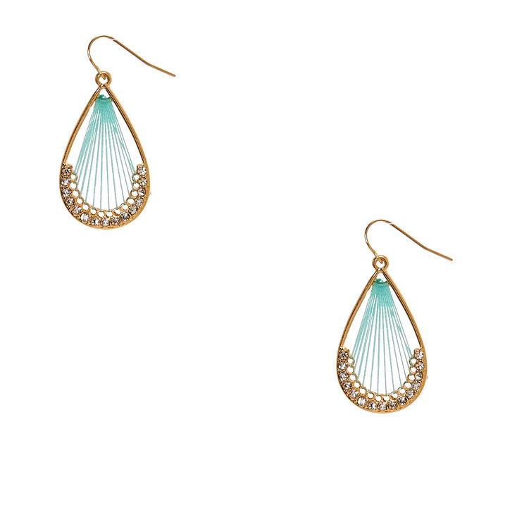 Mint and Gold Teardrop Dreamcatcher Drop Earrings,