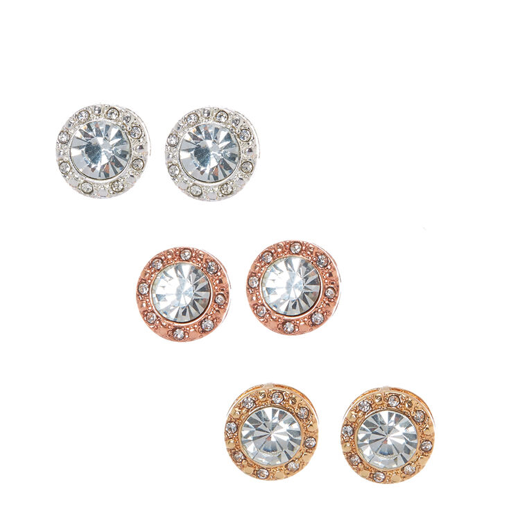 Mixed Metal Clear Crystal Halo Stud Earrings,