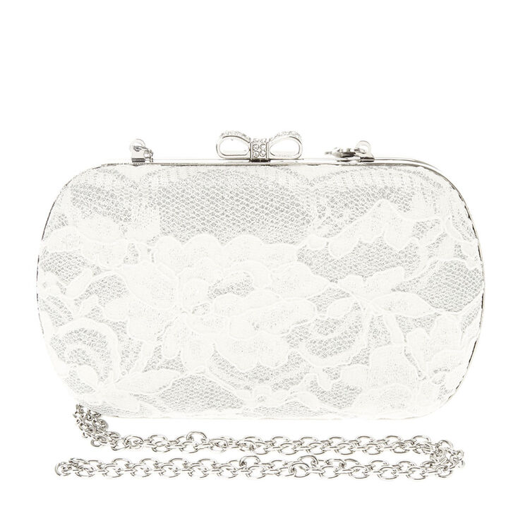 White Lace with Rhinestone Bow Closure Clutch,