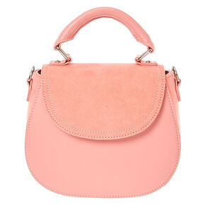 Faux Leather & Suede Pink Mini Tote Saddle Bag,