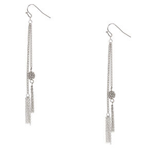 Silver-tone Fireball and Chain Fringe Drop Earrings,