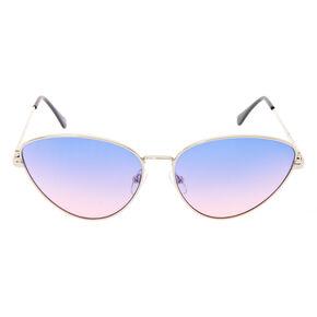 Purple Ombre Cat Eye Metal Sunglasses,