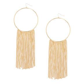Gold Fringe Hoop Earrings,