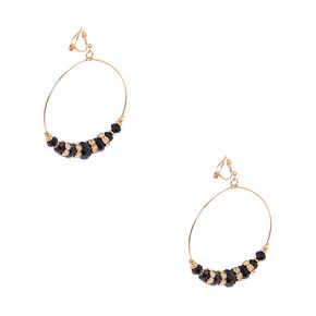 Gold and Pillowed Black Beaded Clip-on Hoop Earrings,