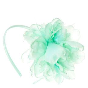 Mint-Green Feathered Flower Headband,