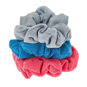 Turquoise And Pink Lurex Hair Scrunchies,