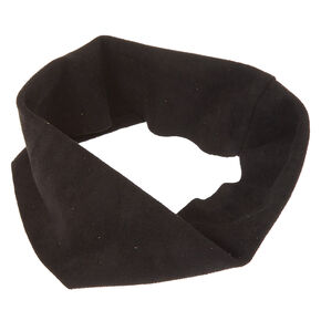 Black Wide Suede Headwrap,