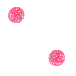 Crystalized Iridescent Neon Pink Sterling Silver Stud Earrings,