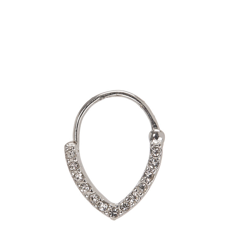 18G Silver with Crystal Septum Ring,