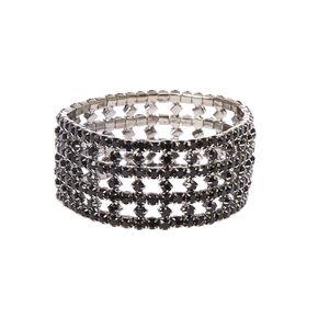 Black Crystal Drop Earrings and Bracelet Set,