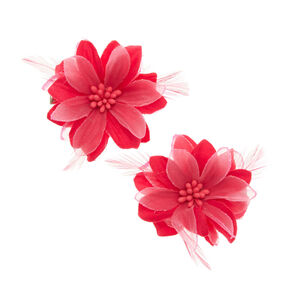 Pink Lily and Feathers Hair Clips,