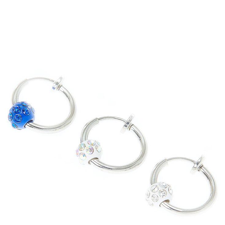 Faux Glitter Beaded Hoop Cartilage Earrings,