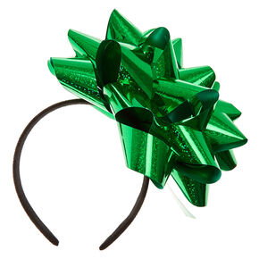 Big Green Confetti Bow Headband,