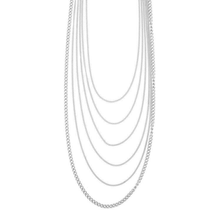 Silver Thick and Thin Chains Multi-Strand Necklace,