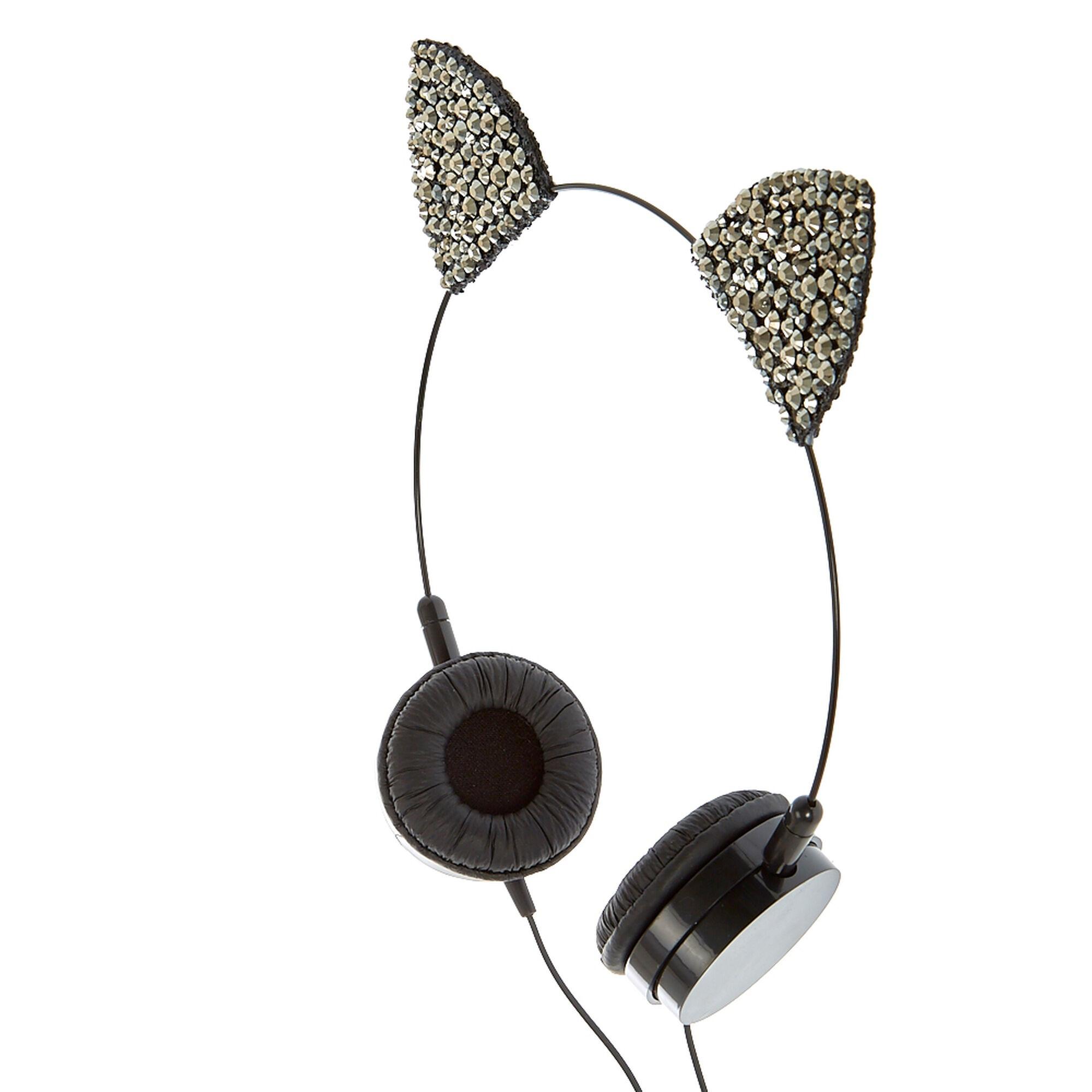 6b9ada5df0c Hematite Cat Ear Headphones | Claire's