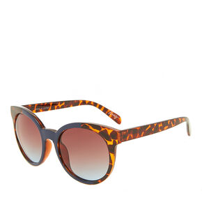 Navy and Leopard Print Round Sunglasses,