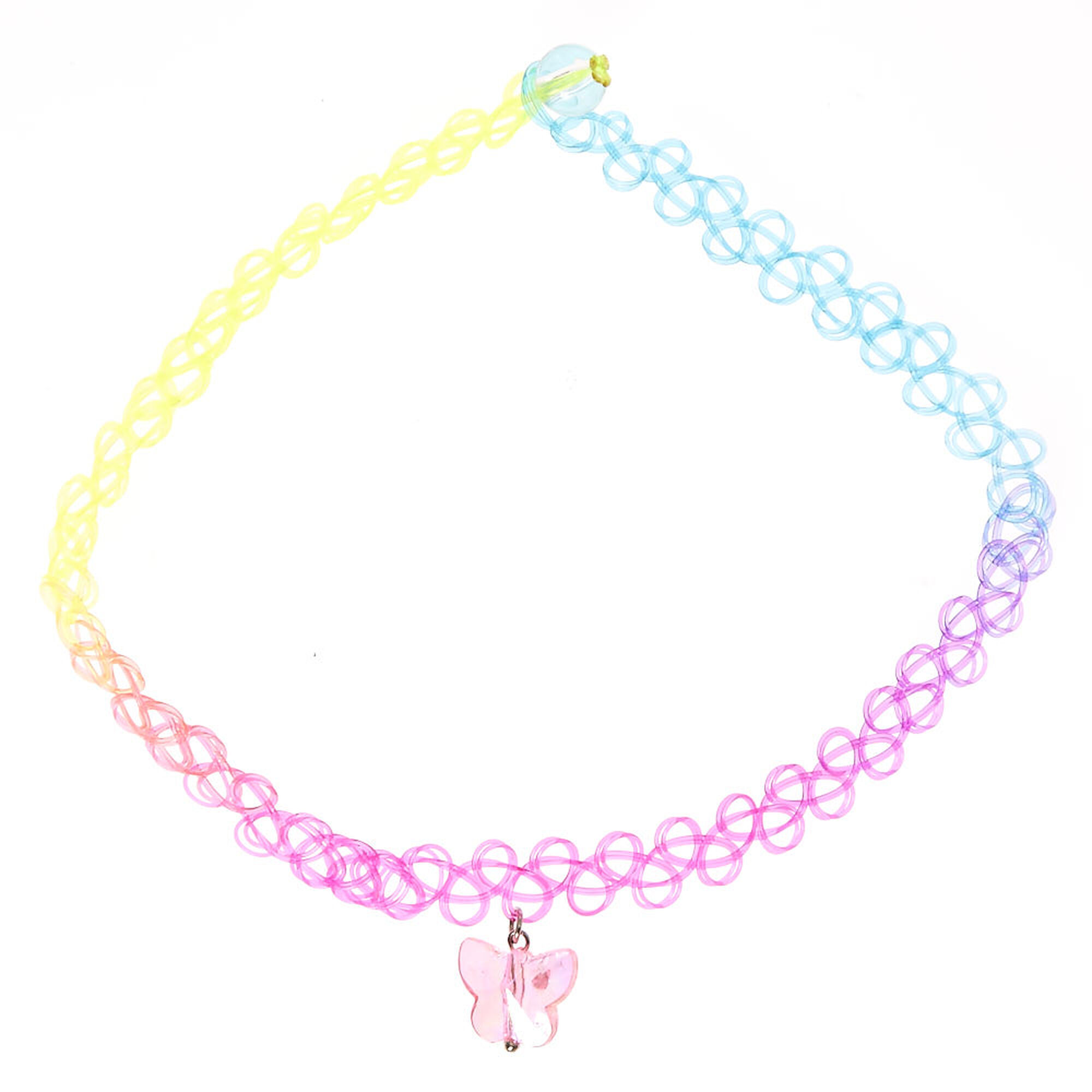 Kids Rainbow Tattoo Choker Necklace With Erfly Charm