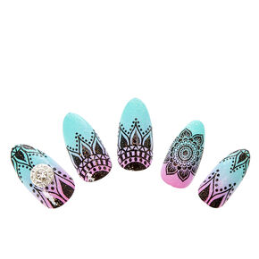 Mint and Pink Ombre Henna Stiletto Instant Nails,