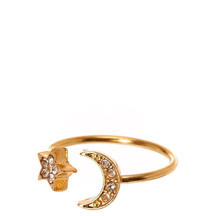 Moon and Stars Pavé Ring,