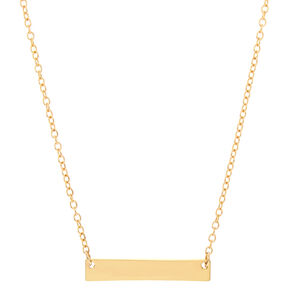 Gold Bar Pendant Necklace,