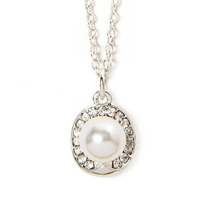 Rhinestone Oval and Pearl Solitaire Pendant Necklace,