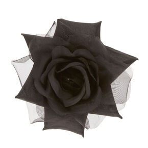 Black Chiffon Rose Hair Clip,