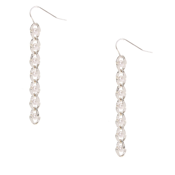 Silver-tone and Pearl Chain Drop Earrings,