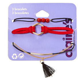Black Cord & Red Suede 3-Piece Bracelet Set,