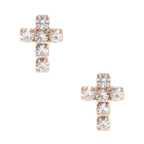 Faux Crystal Lined Rose Gold Tone Cross Stud Earrings,