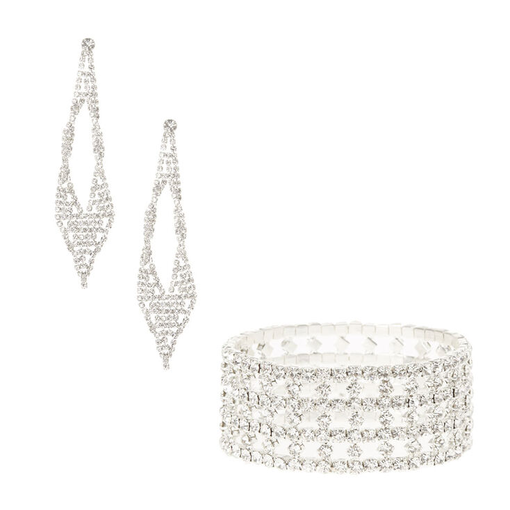 Crystal Stretch Bracelet and Drop Earring Set,