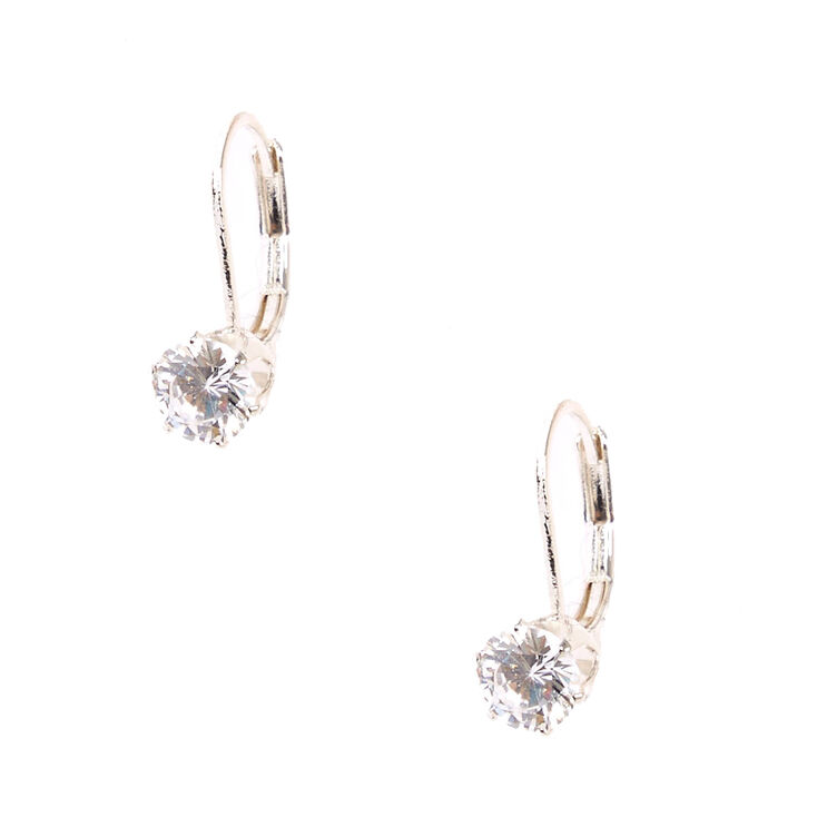 Cubic Zirconia Silver-tone Mini Hoop Earrings,