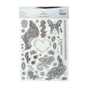 Love and Madness Black Lace Temporary Tattoos,