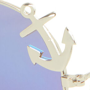 Blue and Silver Anchor Aviator Sunglasses,