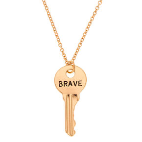 Gold-Tone BRAVE Key Pendant Necklace,