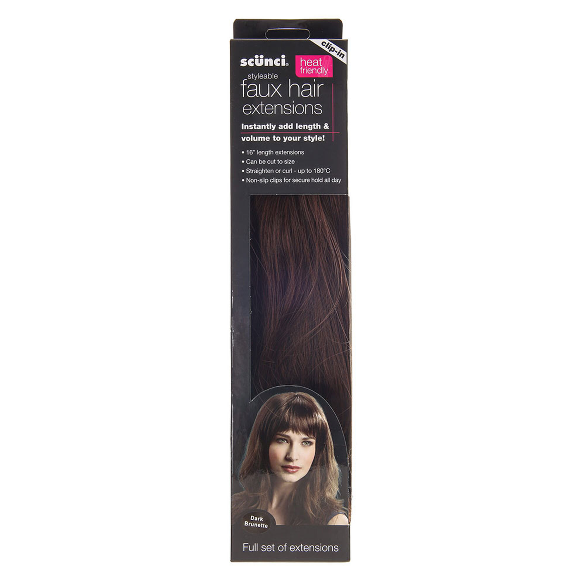 Fake hair clip ins extensions wigs claires scunci dark brown faux hair extensions pmusecretfo Image collections