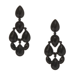 Black Stone Teardrop Drop Earrings,