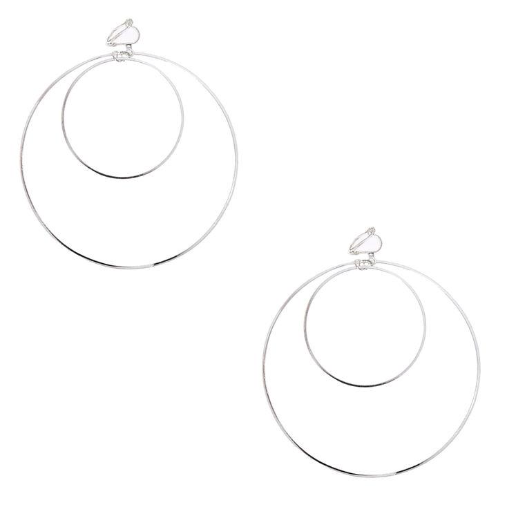 Silver-tone Double Hoop Clip-on Earrings,